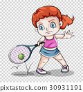 Female tennis player on transparent background 30931191