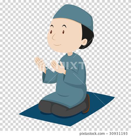 Muslim man praying on blue mat 30931193