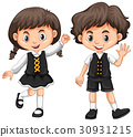 Cute boy and girl waving hands 30931215