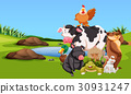 Farm animals on the farmyard 30931247
