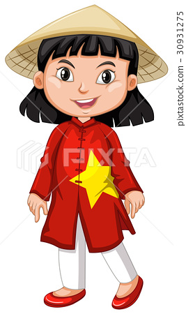 Vietnamese girl in tradition costume 30931275