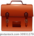 Brown briefcase with nametag case 30931279
