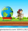 Girl pulling globe in red wagon 30931282