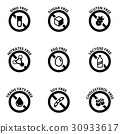 Vector black food dietary labels icon set 30933617