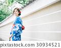 ผู้หญิงในชุดยูกาตะยืนอยู่ในที่ร่ม 30934521