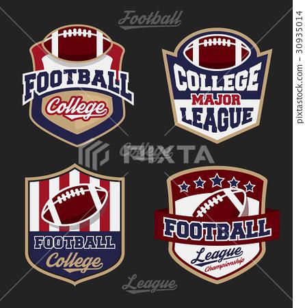 Set of football college league badge logo 30935014