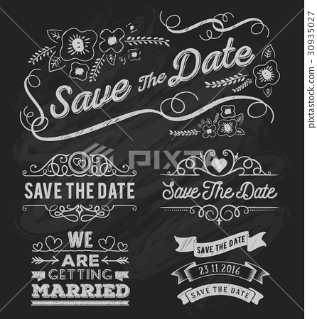 Set of save the date typography 30935027