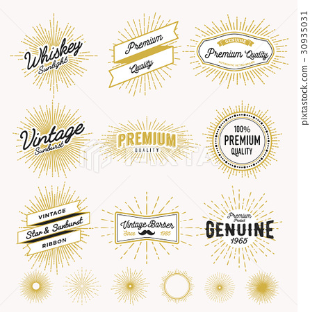 Vintage sunburst frame logo - Stock Illustration [30935031] - PIXTA