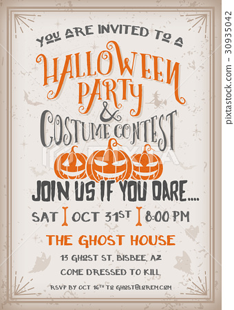 Halloween party and costume contest Invitation  sc 1 st  PIXTA & Halloween party and costume contest Invitation - Stock Illustration ...