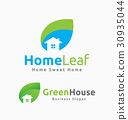 Abstract House and Leaf Logo Template Design 30935044