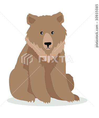 Brown Bear Cartoon illustration in Flat Design 30935085