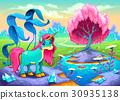 Happy unicorn in a landscape of dreams 30935138