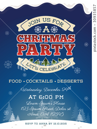 Christmas party invitation template design. - Stock Illustration ...