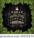 Merry Christmas Greeting Card With Ornaments 30935874