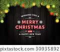 Christmas dark wooden background with fir branches 30935892