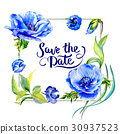 Wildflower anemone flower frame in a watercolor 30937523