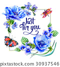 Wildflower anemone flower frame in a watercolor 30937546