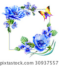 Wildflower anemone flower frame in a watercolor 30937557