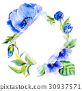 Wildflower anemone flower frame in a watercolor 30937571