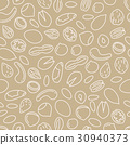 nuts seamless pattern in beige colour 30940373