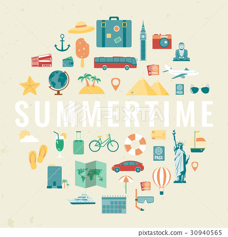 Summer holidays background with travel icons 30940565