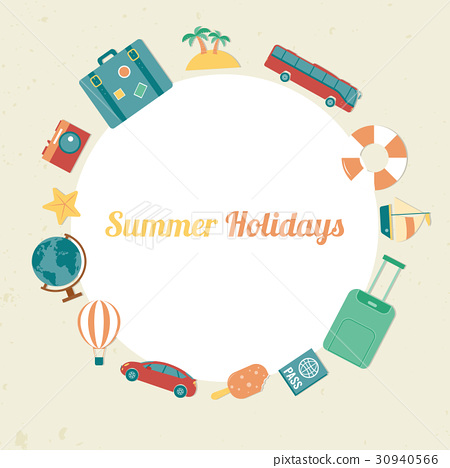 Summer holidays background with travel icons 30940566