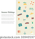 Summer holidays background with travel icons 30940597
