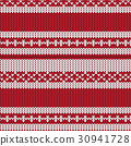 red white striped fence knitted pattern background 30941728