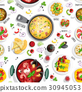 Collection of italian food top view iluustrations 30945053