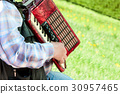 the man plays an accordion on a green lawn 30957465