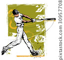 Baseball hitter Swinging 30957708