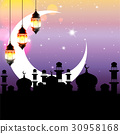 Arabian night with big moon and arabic lamps. 30958168