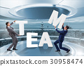 Teamwork concept with businessman putting letters 30958474