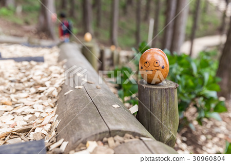 painting wood egg in forest 30960804