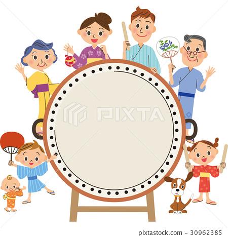 太鼓和三代家庭 30962385