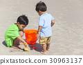 Hispanic Boys Children Brothers Playing on Beach 30963137
