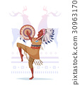American Indian with a tambourine in the style of 30963170