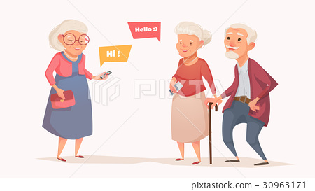 Elderly couple and an old woman in the style of a 30963171