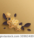 Illustration of paper flowers on a gold background 30963489