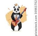 Panda with a crown plays guitar. 30963702