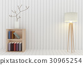 bookshelf with lamp decoration in white room 30965254