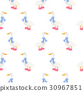 Ducks in scarf winter seamless vector pattern. 30967851