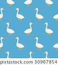 Blue cute geese seamless vector pattern. 30967854