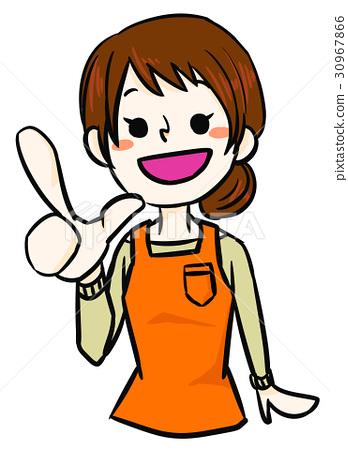 포인트를 설명하는 귀여운 여성 (앞치마를 한 주부) 30967866