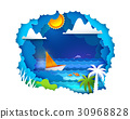 Sailboat on tropical sea 30968828