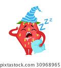 Sleeping funny strawberry. Cute cartoon emoji 30968965