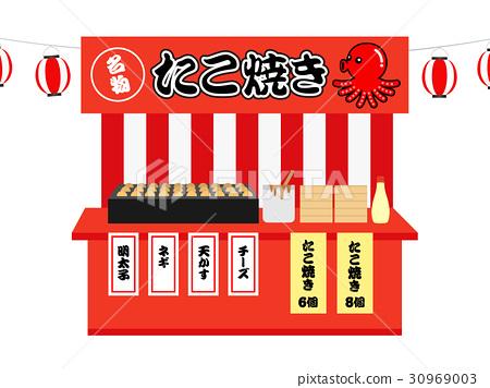 takoyaki, octopus dumplings, stall 30969003