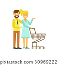 couple, vector, shopping 30969222