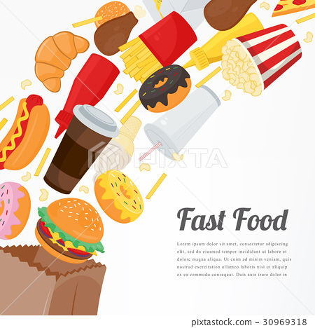 Fast food background with colorful food icons 30969318