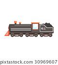Black train locomotive. Colorful cartoon 30969607